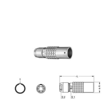 6Pin Inline solder socket, 0B,