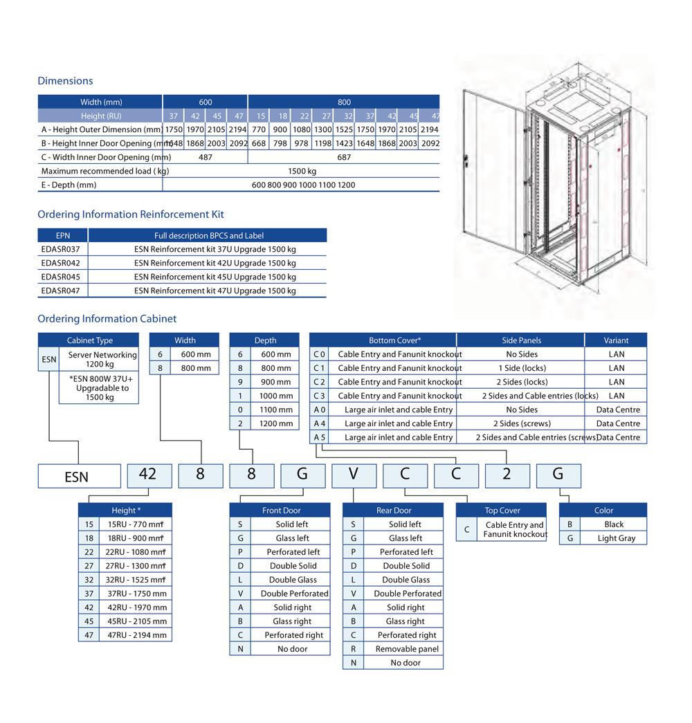 Cabinet Rack 1200kg 47U 800x1200, LP/DP, TC+FU