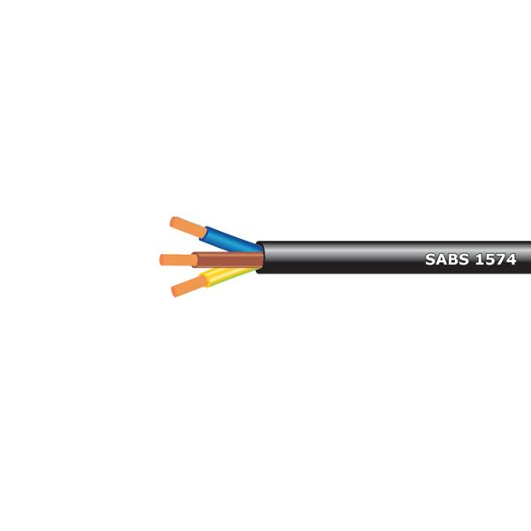 02Cx0,75mm2 PVC Cabtyre Black